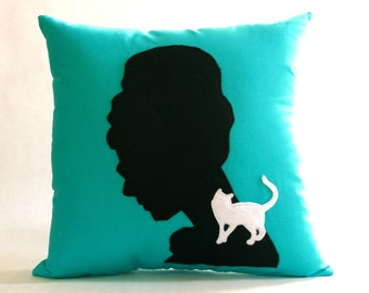 Audrey Silhouette Breakfast at Tiffany's Decorative Pillow As Seen on Gossip Girl - Engagement Party Wedding Decor