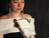Felted angora shoulder wrap with vintage lace and kilt pin