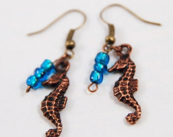 Copper Seahorse Earrings Under the Sea