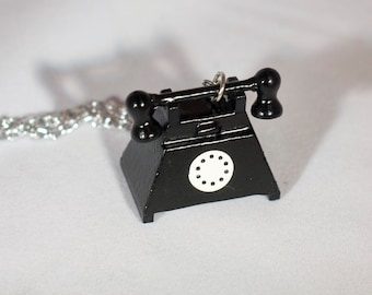 Black Telephone Necklace Wooden Rotary Phone Charm