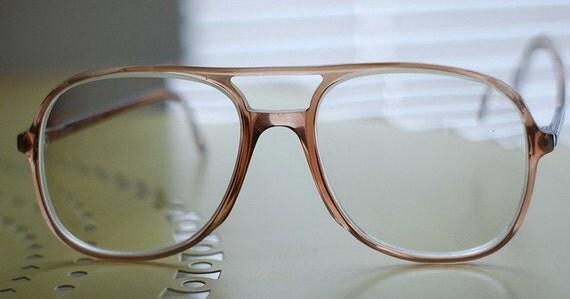 SALE Vintage Brown Silhouette Eyeglasses with Cross Bar