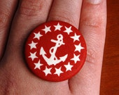 Anchor Button Ring - SALE