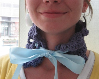 SALE: Plum with Sky Blue Ribbon Victorian Crocheted Neck Cowl