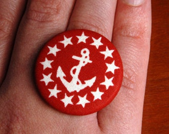 SALE: Anchor Button Ring