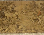 RESERVED  Antique Tapestry Fox Hunt Sidesaddle Horses Dogs