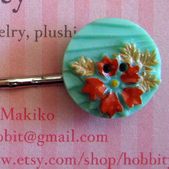 Bobby pin, vintage button hair pin