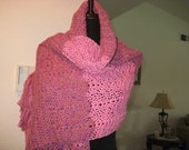 Gorgeous Rayon and Cotton Shawl Pink Tones