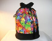 Ex-Large Sock Sak on the Go Laurel Burch Print Knitting Project Bag