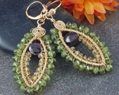 Wire Wrapped Earrings in 14kt Gold Filled, Garnet, Vessonite Garnet and Citrine