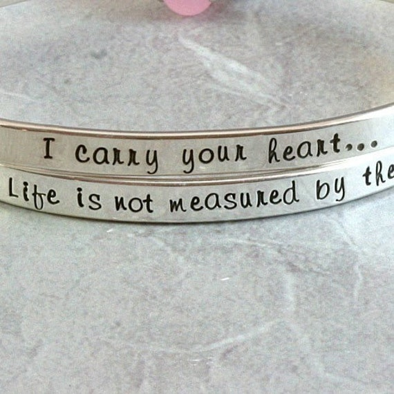 Personalized Single Sided Hand Stamped Sterling Silver Bangle Bracelet