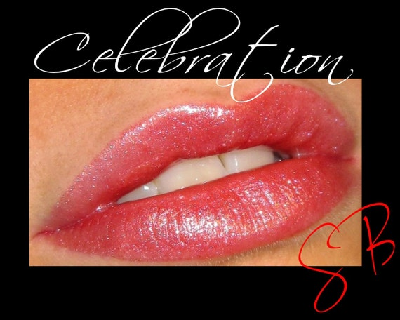 Celebration Lip Gloss (Pink with multi colored shimmer) Mineral Lacquered Up Full size wand