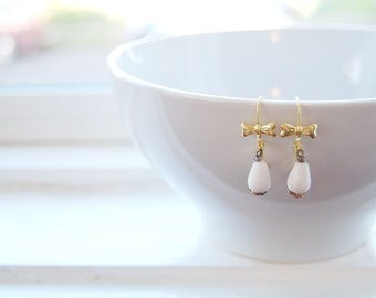 milk glass drop earrings with brass bow detail- vintage romance