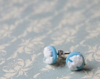 light blue cameo vintage post earrings-blue belle posts.