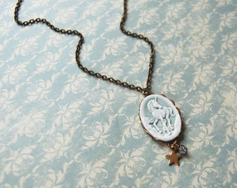 mint unicorn cameo necklace- star detail- aged brass- magic