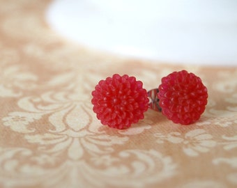 mum post earrings -magenta- Mum's the word -raspberry sherbet dahlia
