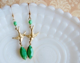 jade green vintage deco earrings with flying bird detail- woodland flapper style