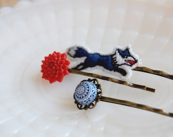 Fox in the snow Scandinavian bobby pin trio - vintage red, white and navy