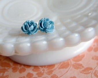 pale blue ruffle rose post earrings- vintage inspired garden party - bella posts