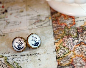 anchors aweigh vintage inspired framed post earrings- nautical vintage