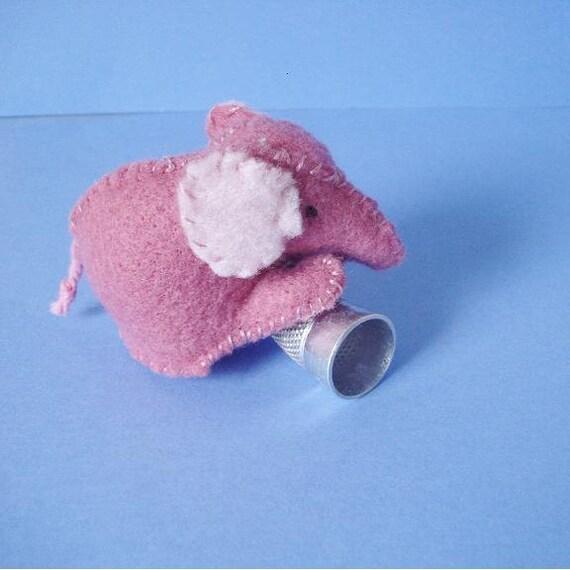 ON SALE - Little pink felt elephant