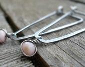 Birthstone Earrings- October. Pink Opal. Oxidized Sterling Silver Hoops