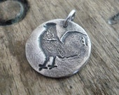 Good Morning Pendant- Handmade. Oxidized Fine Silver. Design Your Own Series