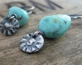 RESERVED Summer Sun Earrings - Handmade. Turquoise. Oxidized fine and sterling silver. Summer Fields Collection
