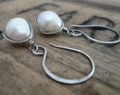 Embrace Earrings - Handmade. Wire wrapped Pearls. Oxidized Sterling Silver