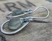 Contour Earrings - Handmade. Moss Aquamarine. Oxidized Sterling Silver