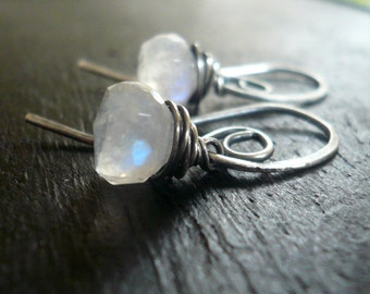 Pirouette Earrings. Handmade. Moonstone. Oxidized Sterling Silver