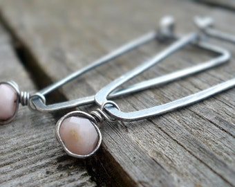 Birthstone Earrings- October. Pink Opal. Oxidized Sterling Silver Hoops