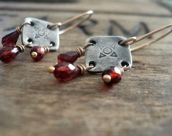 Traveler Earrings - Handmade. Mixed Metal. Garnet. Oxidized Fine Silver &14kt Goldfill dangle earrings. January Birthstone