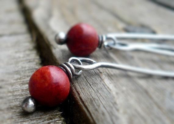 Minimalist in Cherry - Handmade Earrings. Red Coral, Oxidized Sterling Silver Dangle Earrings
