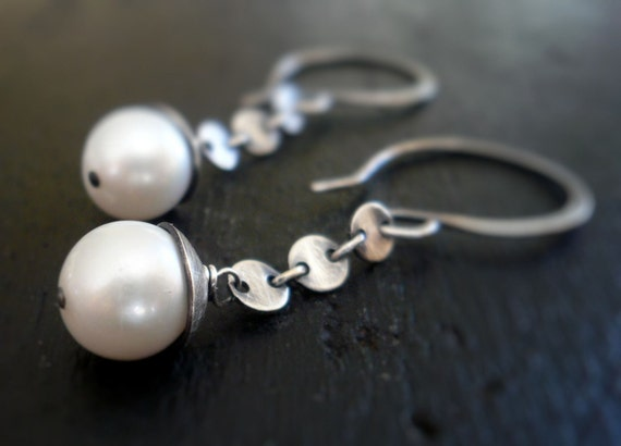 Symphony Earrings - Handmade. Freshwater Pearls. Oxidized Sterling Silver