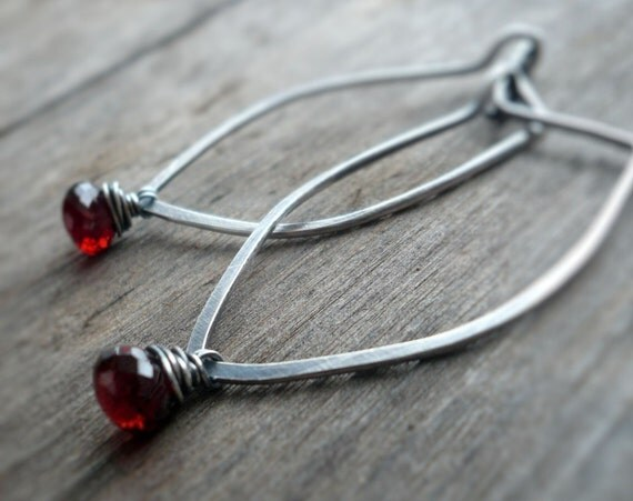 Fruition Earrings - Garnet, Oxidized sterling silver hoops