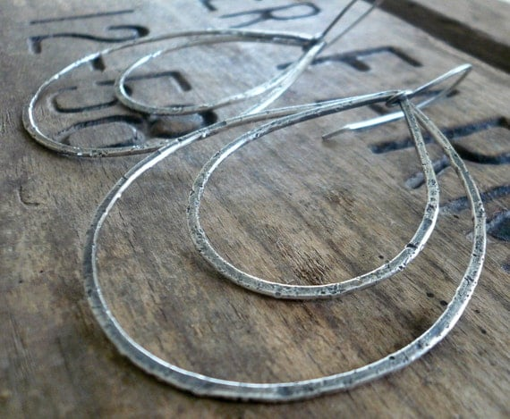 Duo of Tattered Tears - Handmade. Oxidized, textured sterling silver Earrings
