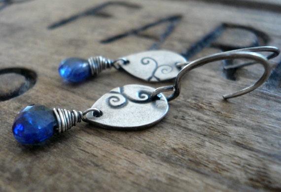 Tendril Earrings - Handmade. Kyanite. Oxidized Sterling & Fine Silver