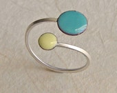 Orbit Ring, Sunshine and Blue Sky, Adjustable Size, Kiln-fired Glass Enamel and Sterling Silver