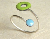 Lifesaver In Orbit Ring, Lime Green and Sky Blue Kiln-fired Glass Enamel and Sterling Silver, Adjustable