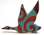 Winged Migration: Duck Silhouette Pin or Brooch, Kiln-fired Glass Enamel on Copper