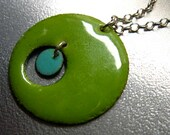 Microcosm Enamel Pendant Necklace: Lime Green and Robins Egg Blue Kiln-fired Glass Enamel on Copper, 18 Inch Sterling Silver Chain