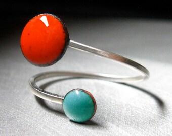 Orbit Enamel Ring, Tangerine Orange and Robin's Egg Blue, Adjustable Size, Kiln-fired Glass Enamel and Sterling Silver