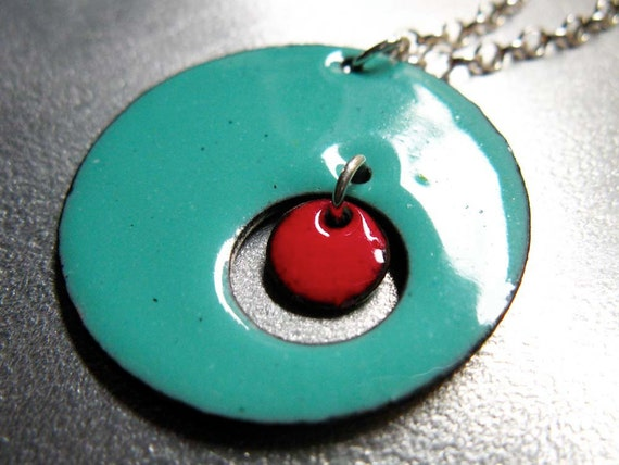 Microcosm Enamel Pendant, Reversible Necklace: Robins Egg Blue and Red Kiln-fired Glass Enamel on Copper, Sterling Silver Chain