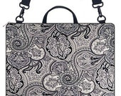 LAPTOP BRIEFCASE w\/ zipper pkt for accessories in VINTAGE PAISLEY onyx