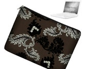 CLEARANCE 15 inch Laptop Sleeve MacBook Pro 15 inch Laptop Bag MacBook Case - Viveinne Damask  black brown silver RTS