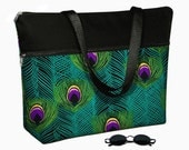 """17 inch Laptop Bag Women Briefcase, Peacock Feather Large Laptop Tote Bag also for 15"""", 15.6""""  Shoulder Bag  teal green purple black MTO"""