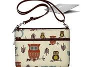 CLEARANCE 11 inch MacBook Air Sleeve Bag Case Crossbody Shoulder Bag Zipper Padded Black Cute Owl (RTS)