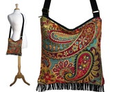 Bohemian Purse Gypsy Fringe Bag Slouch Hobo Hippie Purse Boho Shoulder Bag Zipper - Nadya Paisley Tapestry RTS