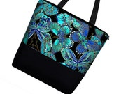 Large Tote Bag Purse / Diaper Bag / Cute Cotton Tote Bag / Zippered Canvas Tote / Teacher or Work Tote - Butterfly blue green (RTS)