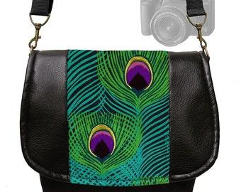 Digital SLR Camera Bag  Dslr Camera Bag Purse Vegan Black Leather Camera Bag  Peacock Feather Padded Zipper Deluxe Model RTS